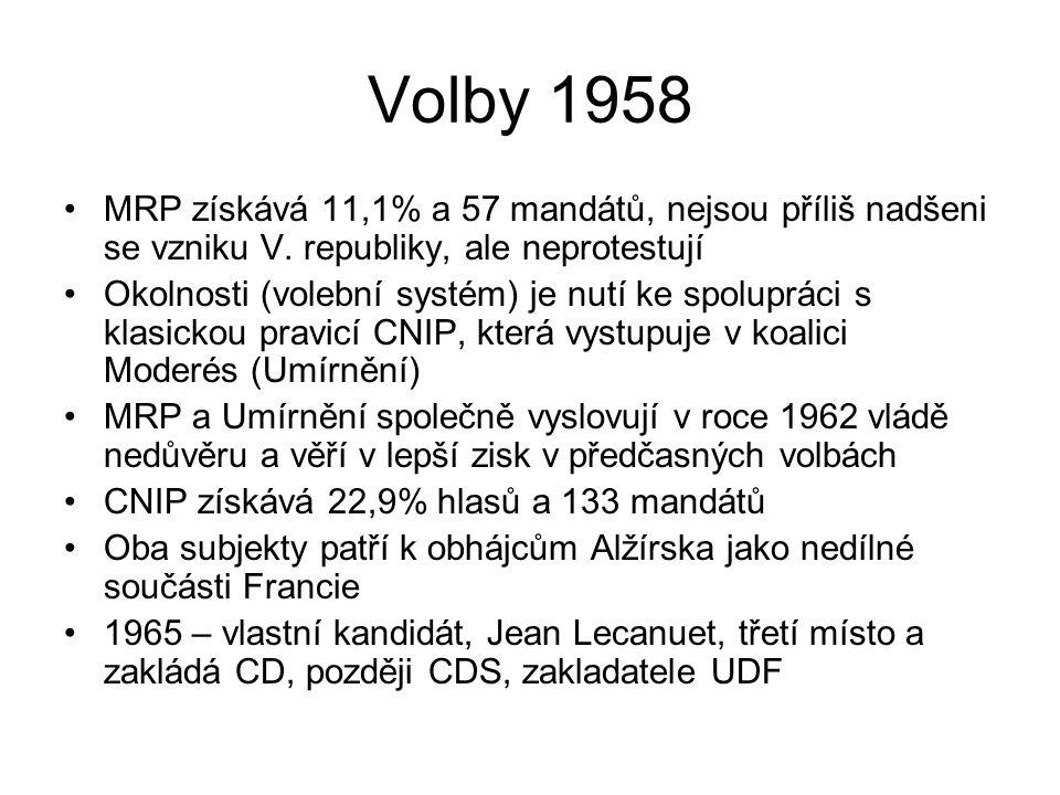 Volby 1958 MRP získává 11,1% a 57 mandátů, nejsou příliš nadšeni se vzniku V. republiky, ale neprotestují Okolnosti (volební systém) je nutí ke spolup