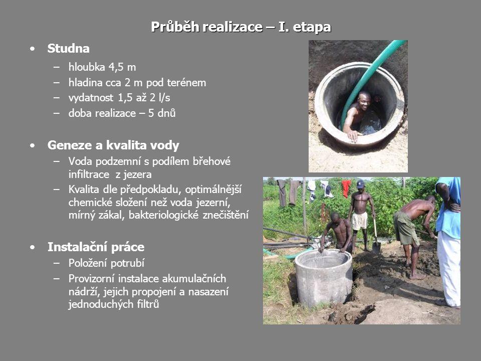 Průběh realizace – I. etapa Studna –hloubka 4,5 m –hladina cca 2 m pod terénem –vydatnost 1,5 až 2 l/s –doba realizace – 5 dnů Geneze a kvalita vody –