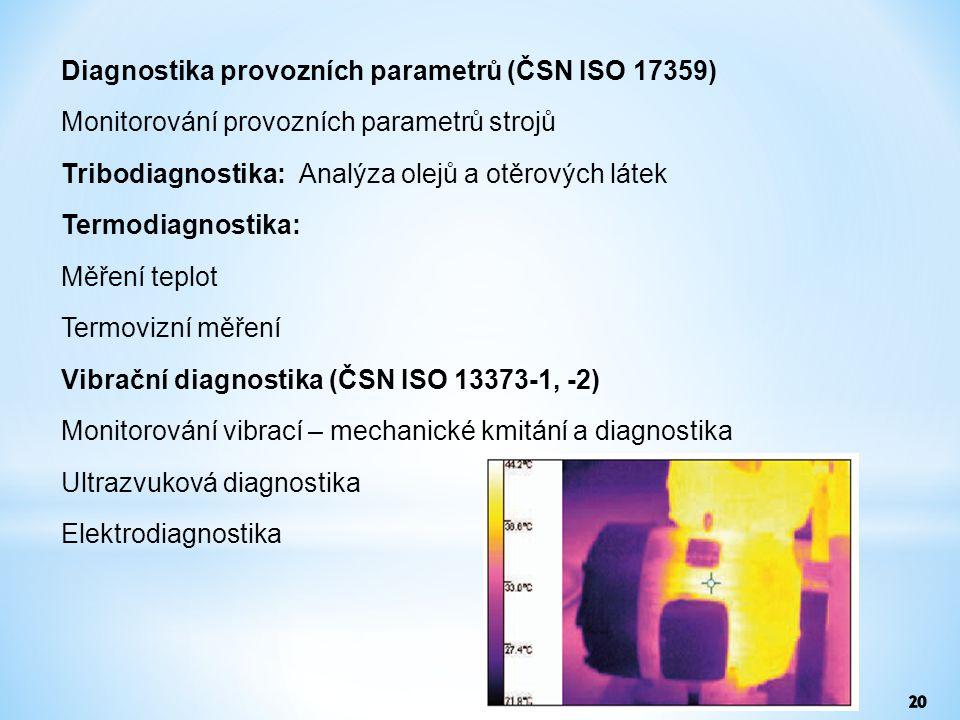 Diagnostika provozních parametrů (ČSN ISO 17359) Monitorování provozních parametrů strojů Tribodiagnostika: Analýza olejů a otěrových látek Termodiagn