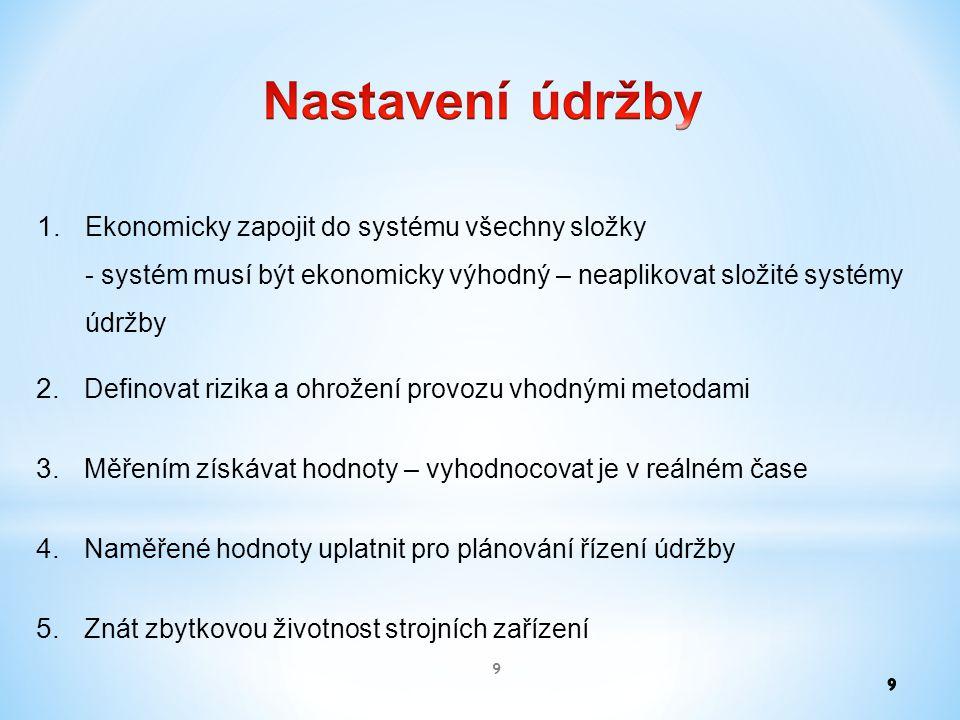 1. Ekonomicky zapojit do systému všechny složky - systém musí být ekonomicky výhodný – neaplikovat složité systémy údržby 9 2. Definovat rizika a ohro