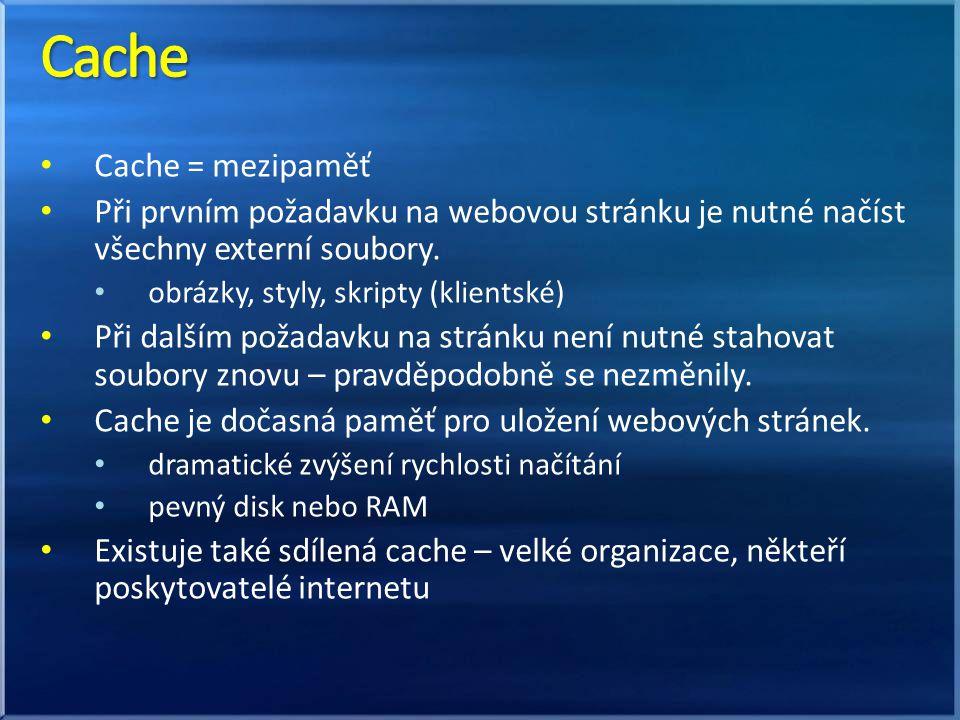Cache = mezipaměť Při prvním požadavku na webovou stránku je nutné načíst všechny externí soubory. obrázky, styly, skripty (klientské) Při dalším poža