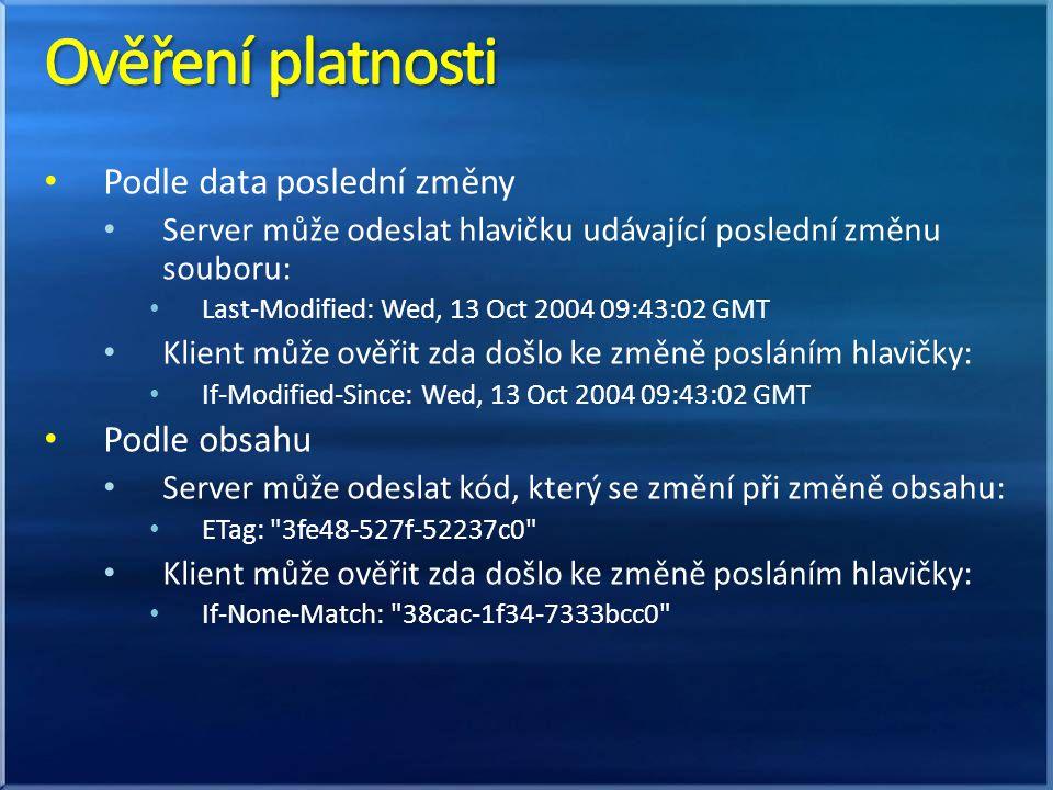 Podle data poslední změny Server může odeslat hlavičku udávající poslední změnu souboru: Last-Modified: Wed, 13 Oct 2004 09:43:02 GMT Klient může ověřit zda došlo ke změně posláním hlavičky: If-Modified-Since: Wed, 13 Oct 2004 09:43:02 GMT Podle obsahu Server může odeslat kód, který se změní při změně obsahu: ETag: 3fe48-527f-52237c0 Klient může ověřit zda došlo ke změně posláním hlavičky: If-None-Match: 38cac-1f34-7333bcc0
