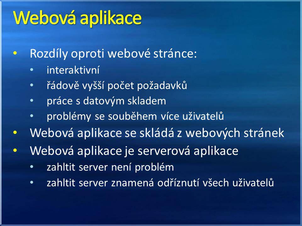Rozdíly oproti webové stránce: interaktivní řádově vyšší počet požadavků práce s datovým skladem problémy se souběhem více uživatelů Webová aplikace se skládá z webových stránek Webová aplikace je serverová aplikace zahltit server není problém zahltit server znamená odříznutí všech uživatelů