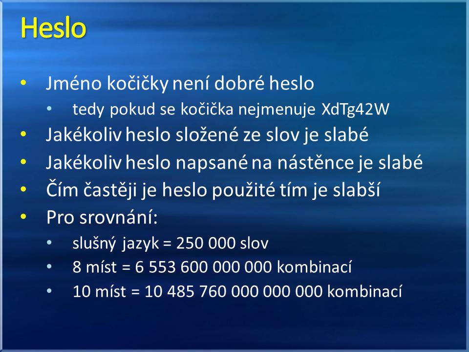 Jméno kočičky není dobré heslo tedy pokud se kočička nejmenuje XdTg42W Jakékoliv heslo složené ze slov je slabé Jakékoliv heslo napsané na nástěnce je slabé Čím častěji je heslo použité tím je slabší Pro srovnání: slušný jazyk = 250 000 slov 8 míst = 6 553 600 000 000 kombinací 10 míst = 10 485 760 000 000 000 kombinací