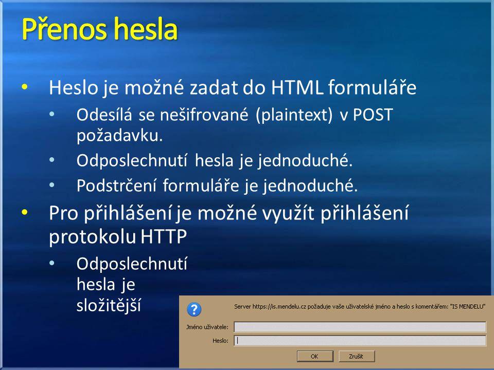 Heslo je možné zadat do HTML formuláře Odesílá se nešifrované (plaintext) v POST požadavku. Odposlechnutí hesla je jednoduché. Podstrčení formuláře je