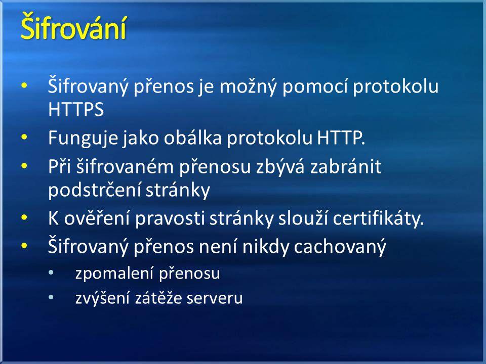 Šifrovaný přenos je možný pomocí protokolu HTTPS Funguje jako obálka protokolu HTTP. Při šifrovaném přenosu zbývá zabránit podstrčení stránky K ověřen