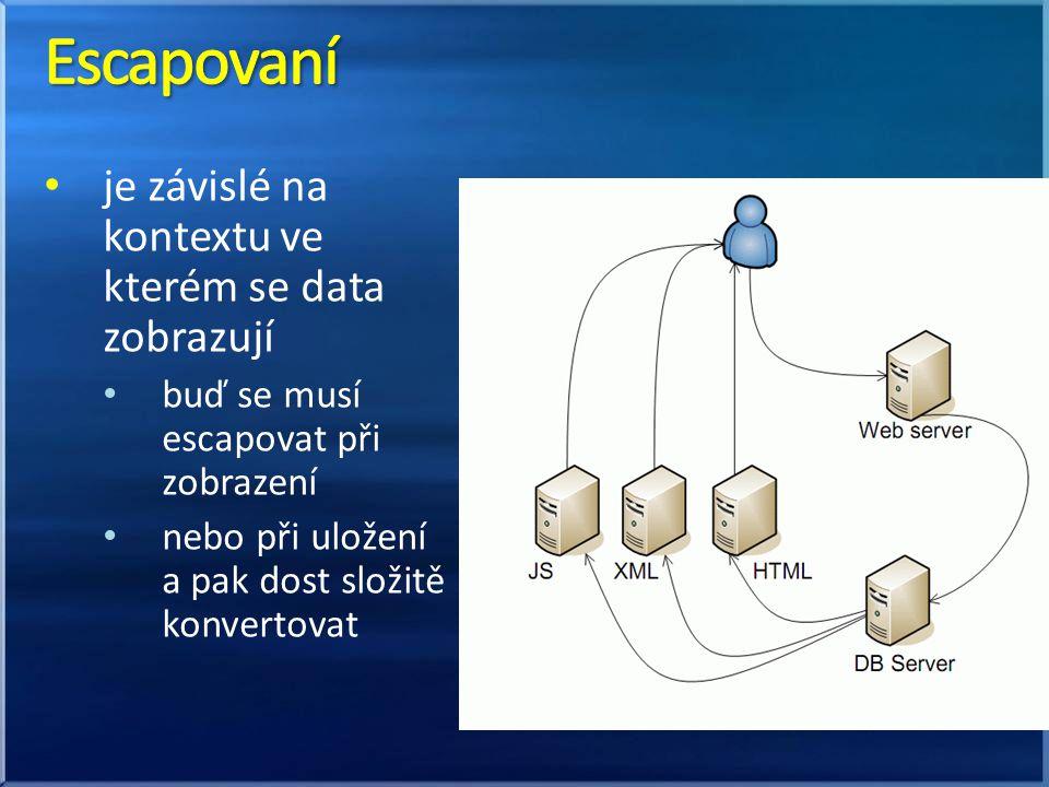 je závislé na kontextu ve kterém se data zobrazují buď se musí escapovat při zobrazení nebo při uložení a pak dost složitě konvertovat
