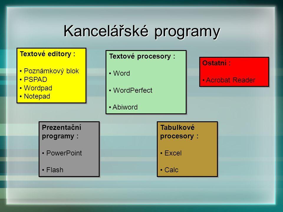Kancelářské programy Textové editory : Poznámkový blok PSPAD Wordpad Notepad Textové editory : Poznámkový blok PSPAD Wordpad Notepad Textové procesory