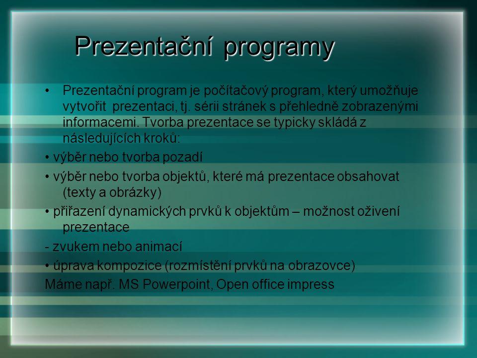 Prezentační programy Prezentační programy Prezentační program je počítačový program, který umožňuje vytvořit prezentaci, tj. sérii stránek s přehledně