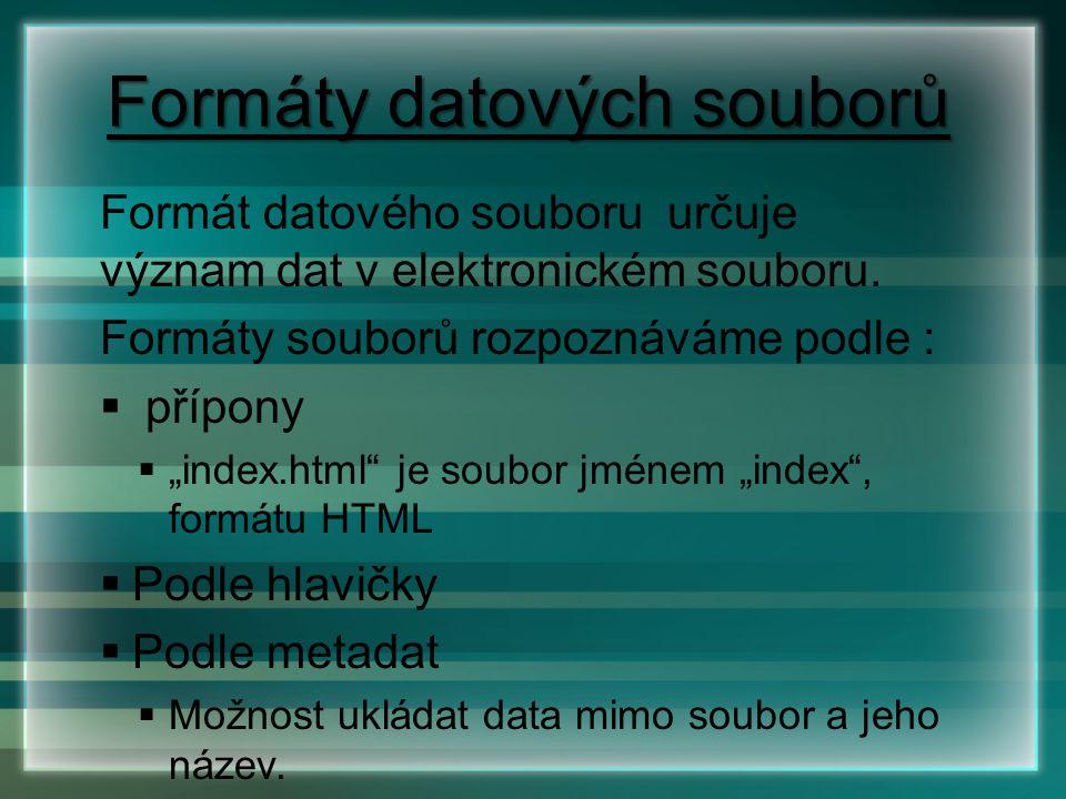 """Formáty datových souborů Formát datového souboru určuje význam dat v elektronickém souboru. Formáty souborů rozpoznáváme podle :  přípony  """"index.ht"""