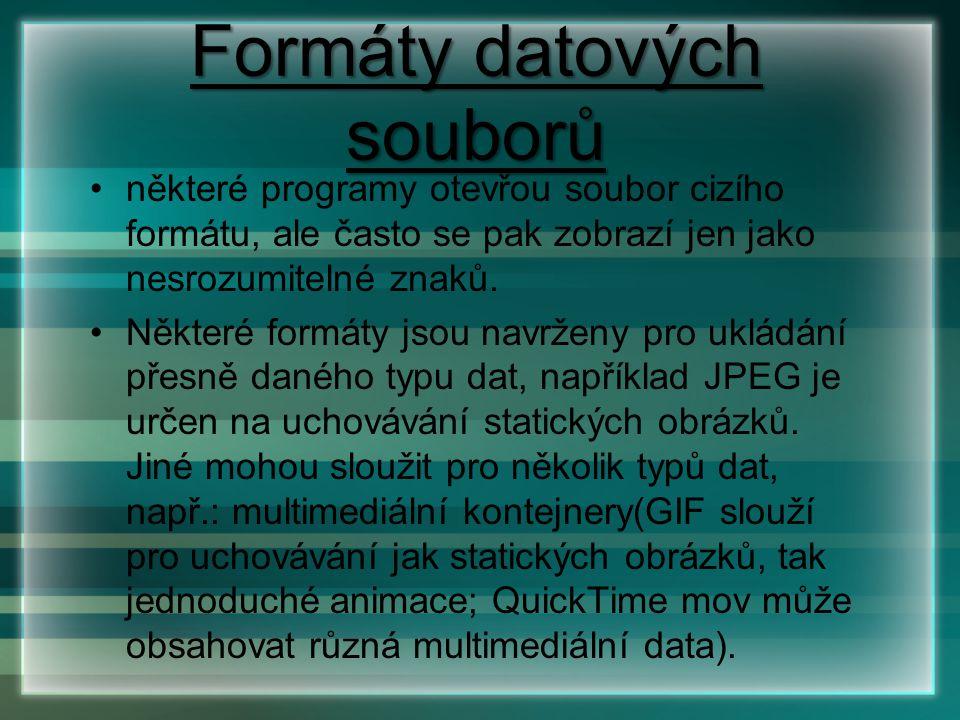 Formáty datových souborů některé programy otevřou soubor cizího formátu, ale často se pak zobrazí jen jako nesrozumitelné znaků. Některé formáty jsou