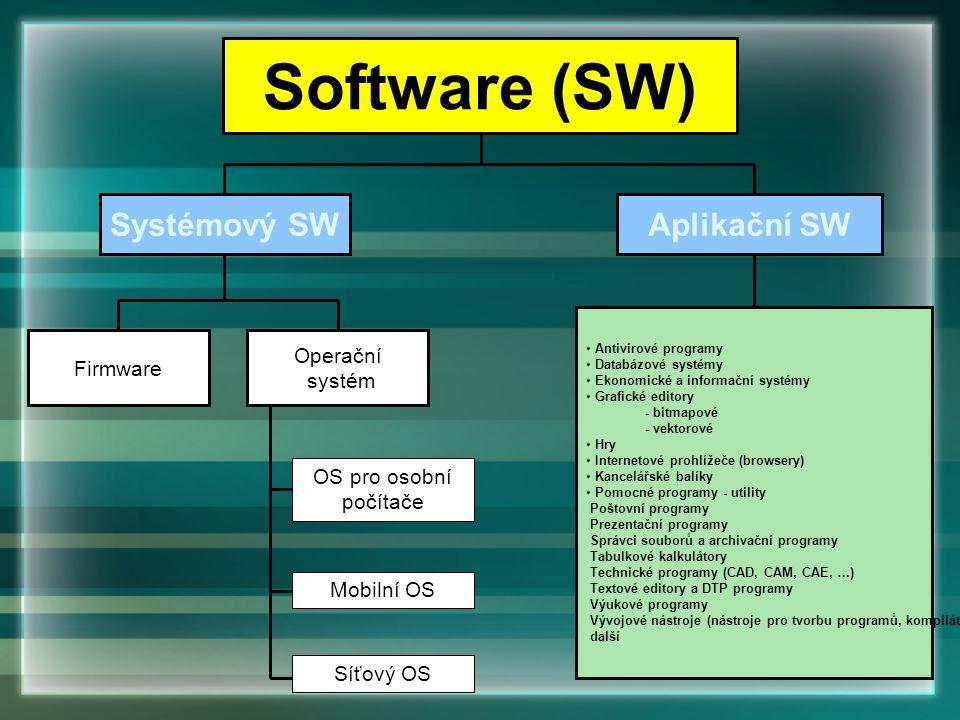 Antivirové programy Databázové systémy Ekonomické a informační systémy Grafické editory - bitmapové - vektorové Hry Internetové prohlížeče (browsery)