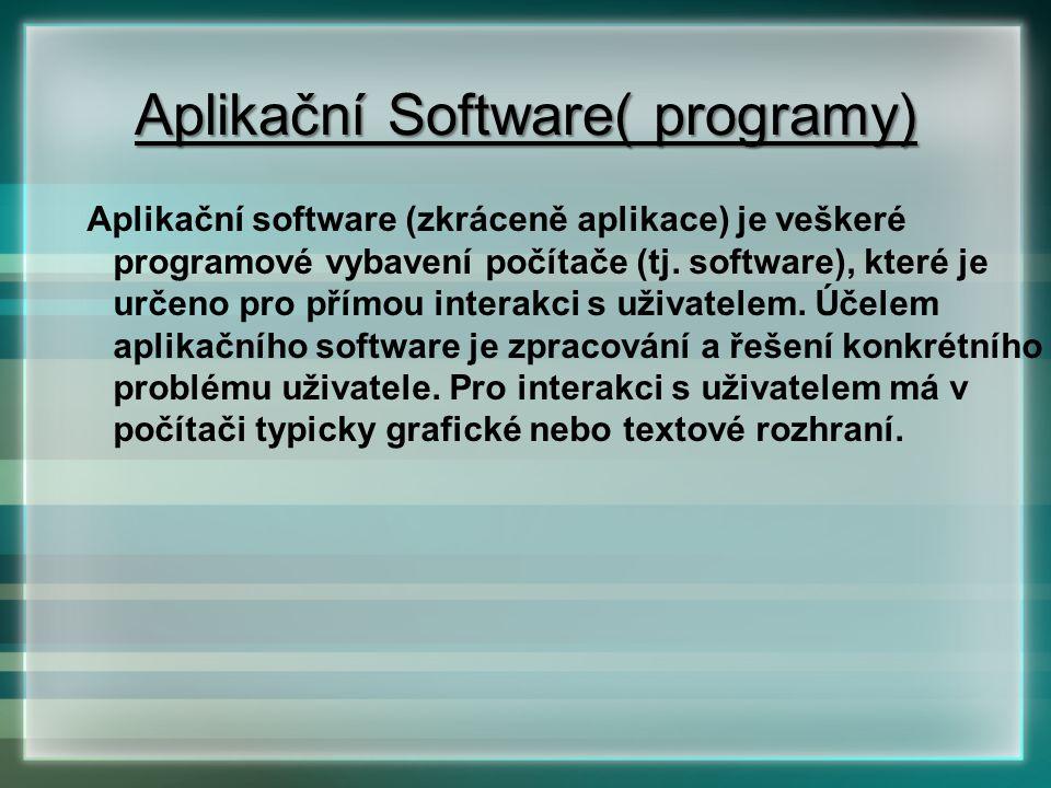 Aplikační software (zkráceně aplikace) je veškeré programové vybavení počítače (tj. software), které je určeno pro přímou interakci s uživatelem. Účel