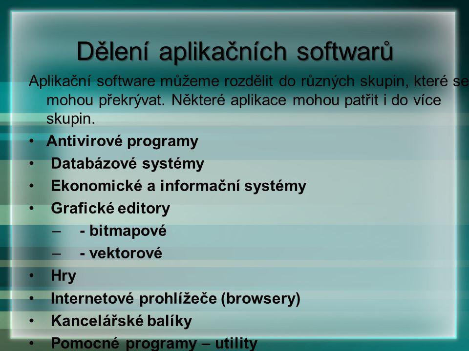 Aplikační software můžeme rozdělit do různých skupin, které se mohou překrývat. Některé aplikace mohou patřit i do více skupin. Antivirové programy Da