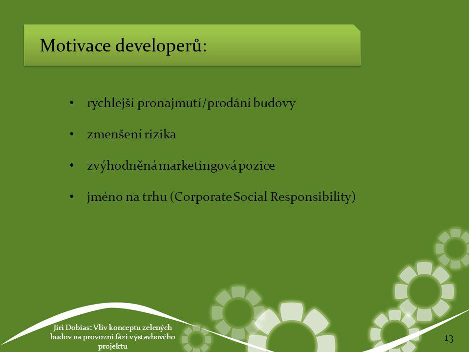 Jiri Dobias: Vliv konceptu zelených budov na provozní fázi výstavbového projektu 13 Motivace developerů: rychlejší pronajmutí/prodání budovy zmenšení rizika zvýhodněná marketingová pozice jméno na trhu (Corporate Social Responsibility)