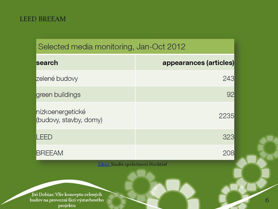 Jiri Dobias: Vliv konceptu zelených budov na provozní fázi výstavbového projektu 6 LEED BREEAM Zdroj: Zdroj: Studie společnosti Hochtief