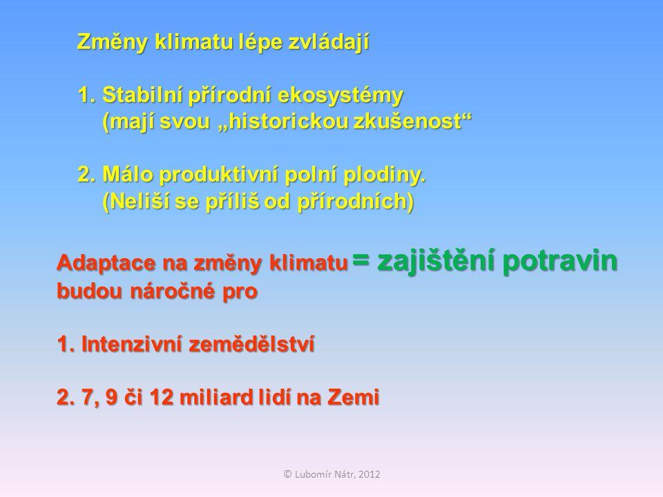 """© Lubomír Nátr, 2012 Změny klimatu lépe zvládají 1.Stabilní přírodní ekosystémy (mají svou """"historickou zkušenost 2.Málo produktivní polní plodiny."""