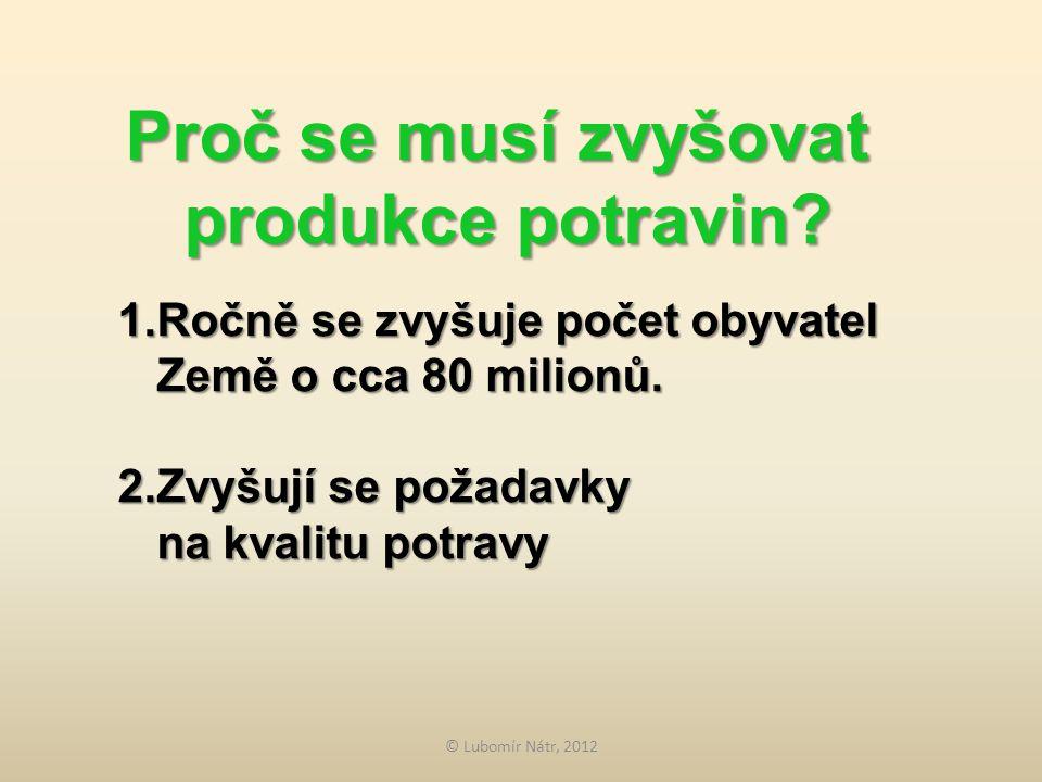 © Lubomír Nátr, 2012 Proč se musí zvyšovat produkce potravin.