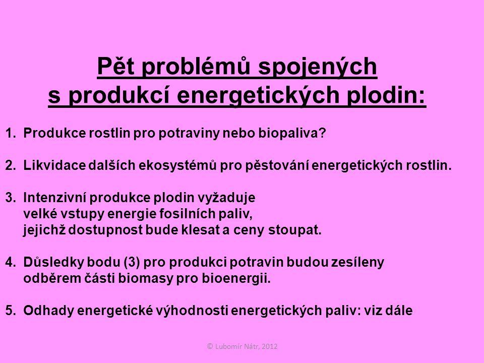 © Lubomír Nátr, 2012 Pět problémů spojených s produkcí energetických plodin: 1.Produkce rostlin pro potraviny nebo biopaliva.