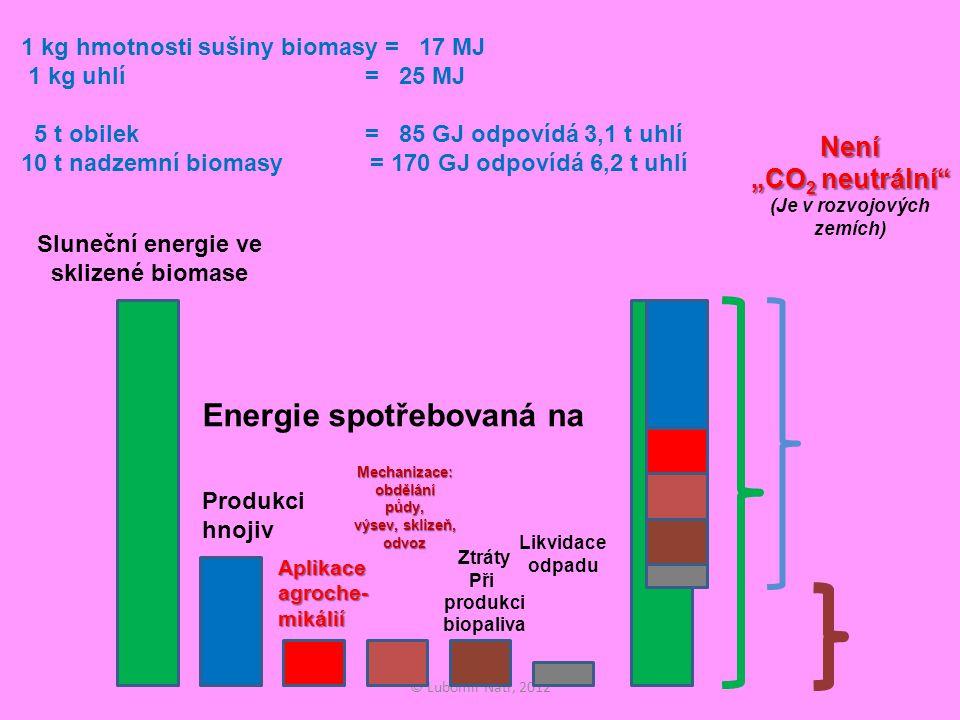 """© Lubomír Nátr, 2012 1 kg hmotnosti sušiny biomasy = 17 MJ 1 kg uhlí = 25 MJ 5 t obilek = 85 GJ odpovídá 3,1 t uhlí 10 t nadzemní biomasy = 170 GJ odpovídá 6,2 t uhlí Sluneční energie ve sklizené biomase Energie spotřebovaná na Produkci hnojiv Aplikace agroche- mikálií Mechanizace: obdělání půdy, výsev, sklizeň, odvoz Ztráty Při produkci biopaliva Likvidace odpadu Není """"CO 2 neutrální Není """"CO 2 neutrální (Je v rozvojových zemích)"""
