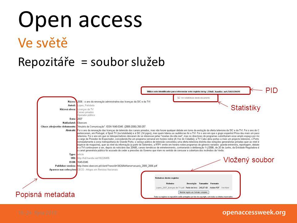 Open access Ve světě Repozitáře = soubor služeb 18.-24.