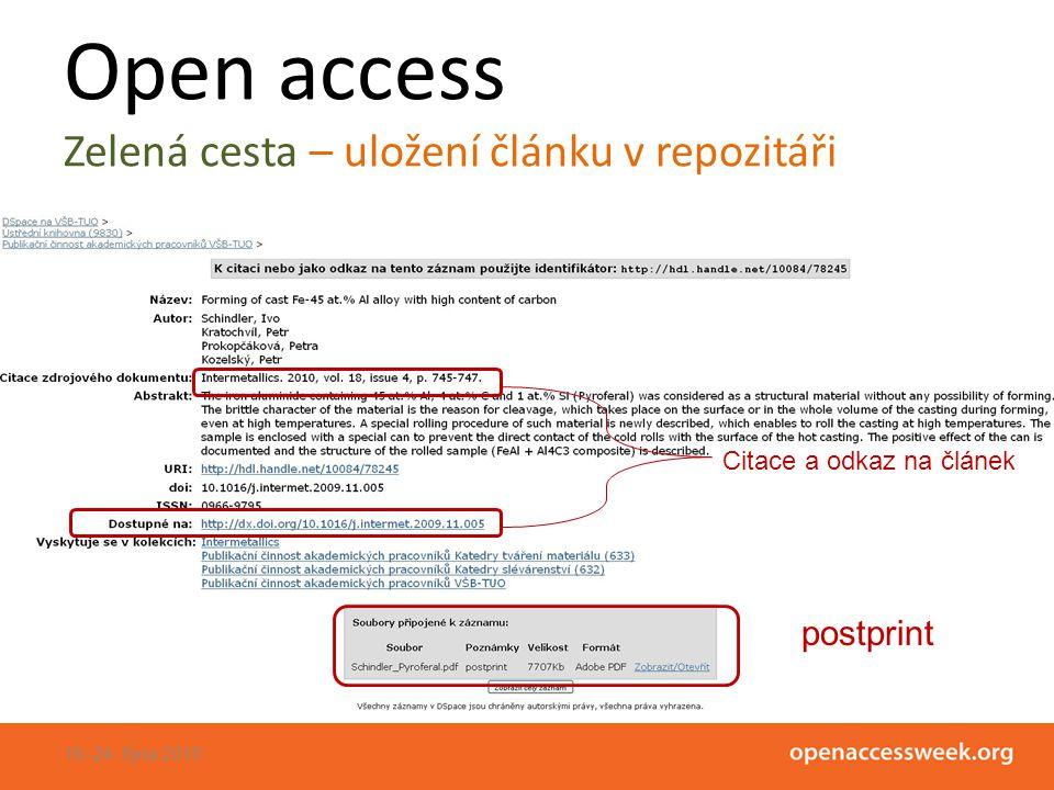 Open access Zelená cesta – uložení článku v repozitáři 18.-24.