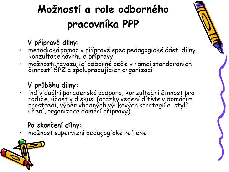 Možnosti a role odborného pracovníka PPP V přípravě dílny: metodická pomoc v přípravě spec.pedagogické části dílny, konzultace návrhu a přípravy možno