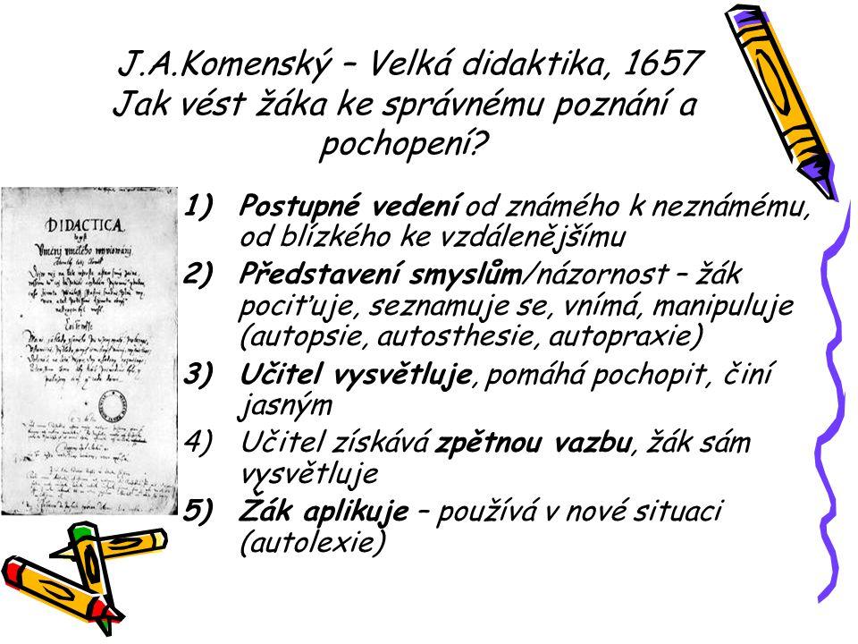 J.A.Komenský – Velká didaktika, 1657 Jak vést žáka ke správnému poznání a pochopení? 1)Postupné vedení od známého k neznámému, od blízkého ke vzdáleně
