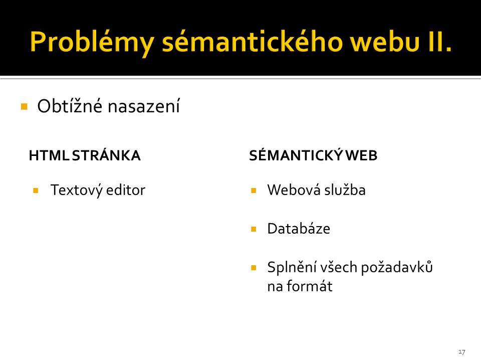 HTML STRÁNKA  Textový editor SÉMANTICKÝ WEB  Webová služba  Databáze  Splnění všech požadavků na formát  Obtížné nasazení 17