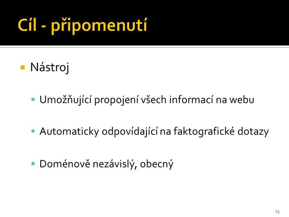  Nástroj  Umožňující propojení všech informací na webu  Automaticky odpovídající na faktografické dotazy  Doménově nezávislý, obecný 23