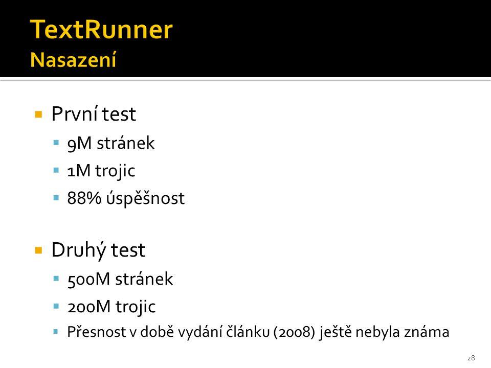  První test  9M stránek  1M trojic  88% úspěšnost  Druhý test  500M stránek  200M trojic  Přesnost v době vydání článku (2008) ještě nebyla známa 28