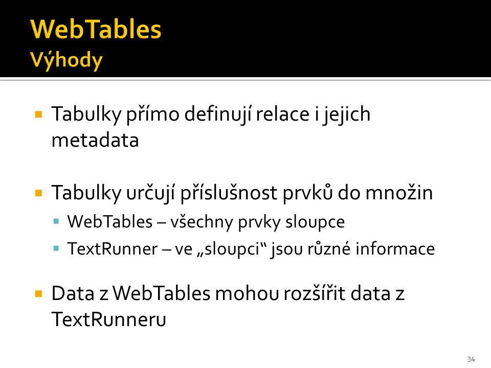 """ Tabulky přímo definují relace i jejich metadata  Tabulky určují příslušnost prvků do množin  WebTables – všechny prvky sloupce  TextRunner – ve """"sloupci jsou různé informace  Data z WebTables mohou rozšířit data z TextRunneru 34"""