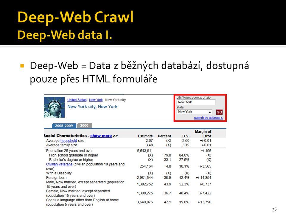  Deep-Web = Data z běžných databází, dostupná pouze přes HTML formuláře 36