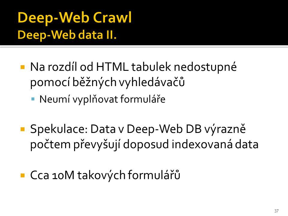  Na rozdíl od HTML tabulek nedostupné pomocí běžných vyhledávačů  Neumí vyplňovat formuláře  Spekulace: Data v Deep-Web DB výrazně počtem převyšují doposud indexovaná data  Cca 10M takových formulářů 37