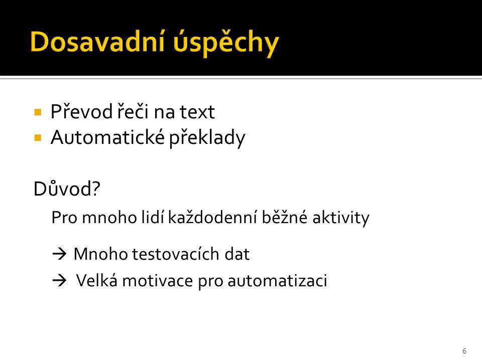  Převod řeči na text  Automatické překlady Důvod.