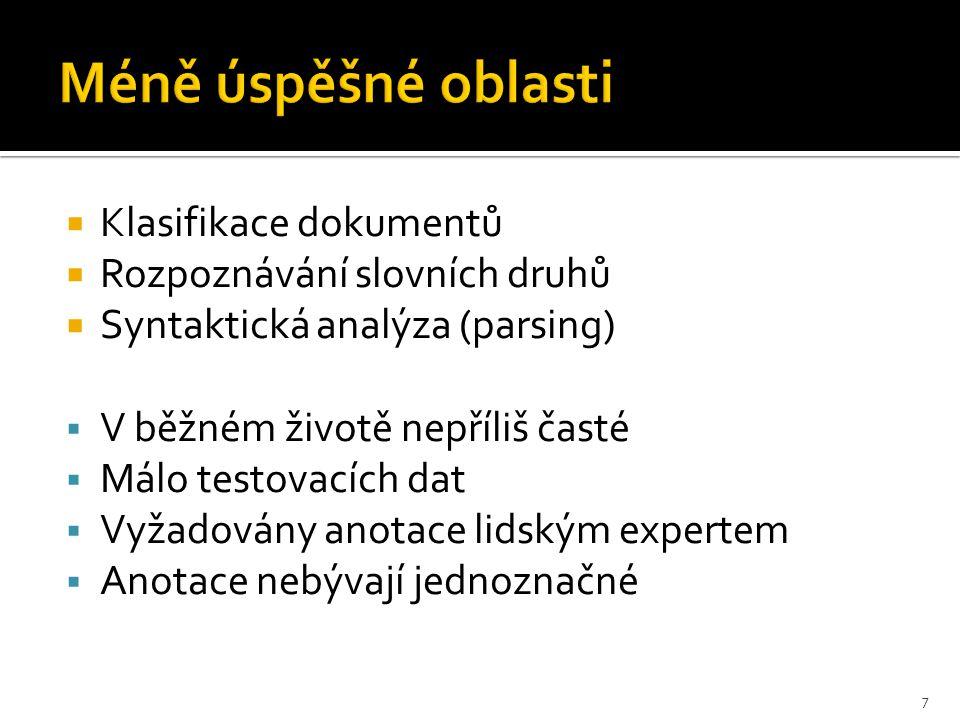  Klasifikace dokumentů  Rozpoznávání slovních druhů  Syntaktická analýza (parsing)  V běžném životě nepříliš časté  Málo testovacích dat  Vyžadovány anotace lidským expertem  Anotace nebývají jednoznačné 7