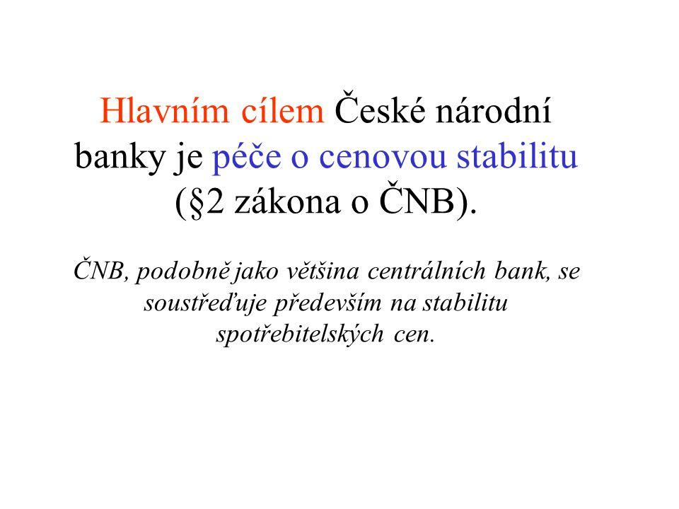 Hlavním cílem České národní banky je péče o cenovou stabilitu (§2 zákona o ČNB). ČNB, podobně jako většina centrálních bank, se soustřeďuje především