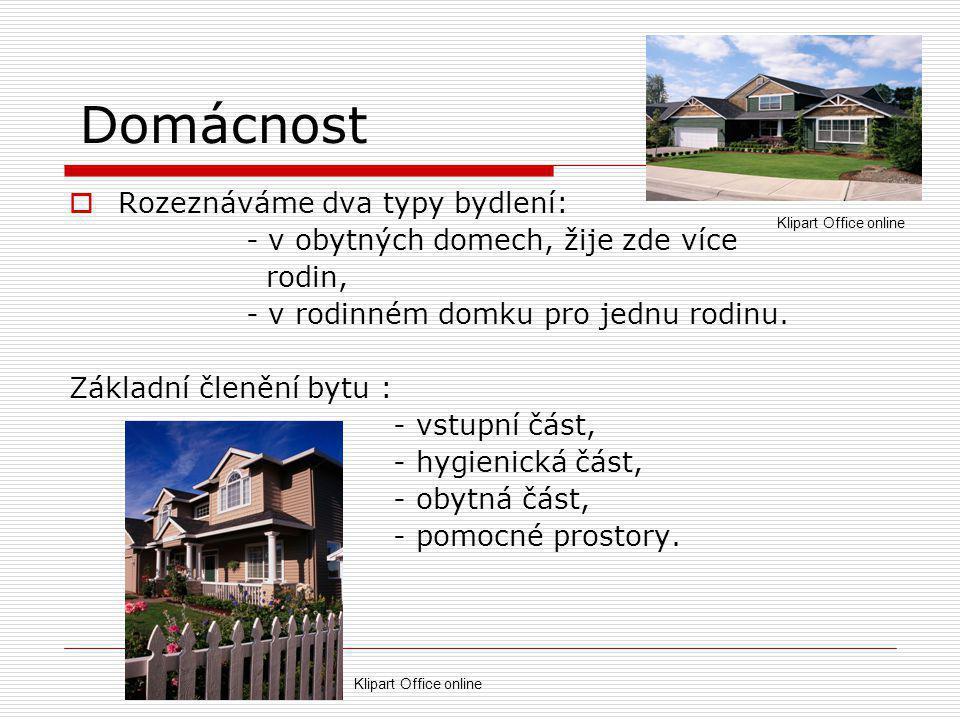 Domácnost  Rozeznáváme dva typy bydlení: - v obytných domech, žije zde více rodin, - v rodinném domku pro jednu rodinu.