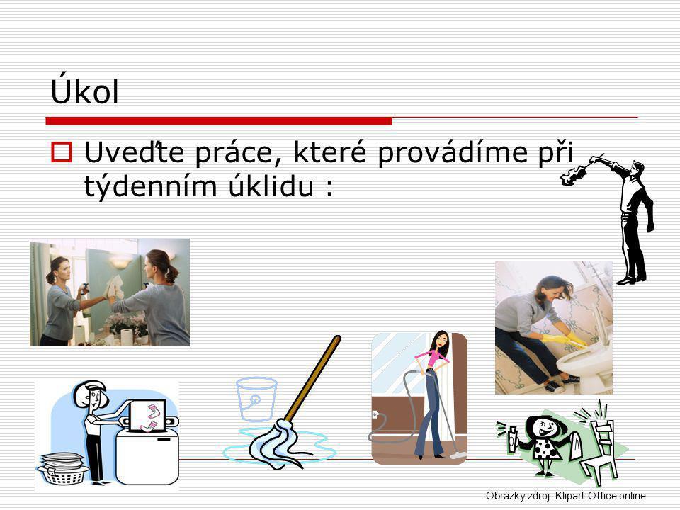 Úkol  Uveďte práce, které provádíme při týdenním úklidu : Obrázky zdroj: Klipart Office online