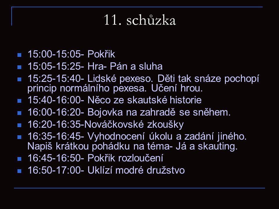 11.schůzka 15:00-15:05- Pokřik 15:05-15:25- Hra- Pán a sluha 15:25-15:40- Lidské pexeso.