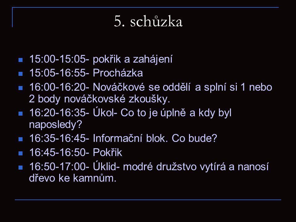 6.schůzka 15:00-15:05- Pokřik 15:05-15:25- Nováčkové se připraví na další bod nováčkovské zkoušky.