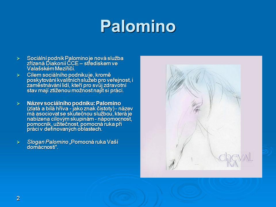 2 Palomino  Sociální podnik Palomino je nová služba zřízená Diakonií ČCE – střediskem ve Valašském Meziříčí.