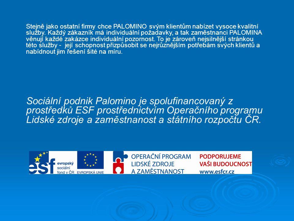 """Služby, které sociální podnik Diakonie ČCE - Palomino nabízí:  Úklid – """"hospodyňka"""" Jednorázový, pravidelný úklid domácností i kanceláří, mytí oken,"""