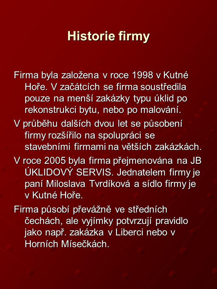 JB úklidový servis Prezentace firmy Srpen 2006