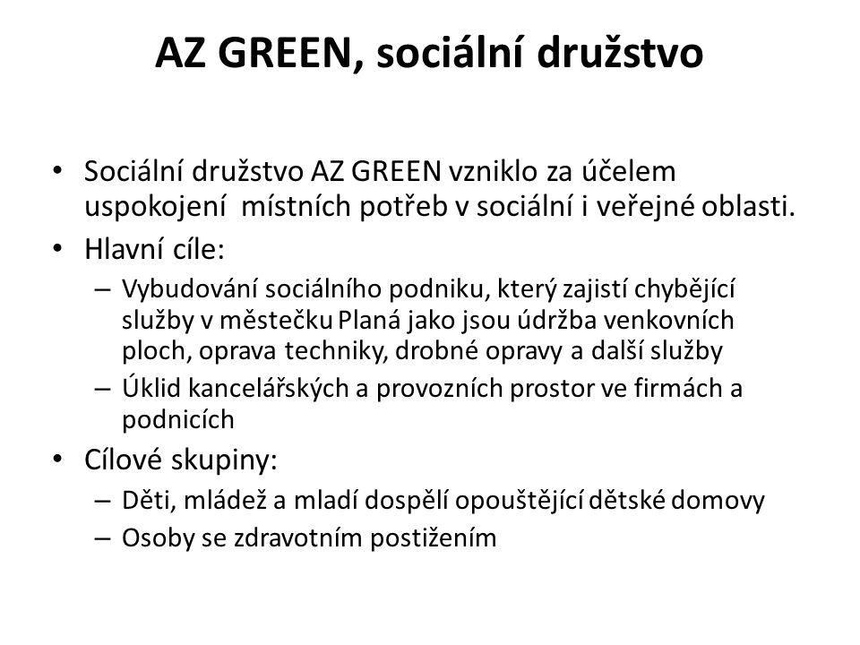 AZ GREEN, sociální družstvo Sociální družstvo AZ GREEN vzniklo za účelem uspokojení místních potřeb v sociální i veřejné oblasti. Hlavní cíle: – Vybud