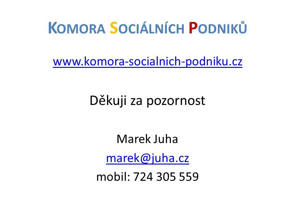 K OMORA S OCIÁLNÍCH P ODNIKŮ www.komora-socialnich-podniku.cz Děkuji za pozornost Marek Juha marek@juha.cz mobil: 724 305 559
