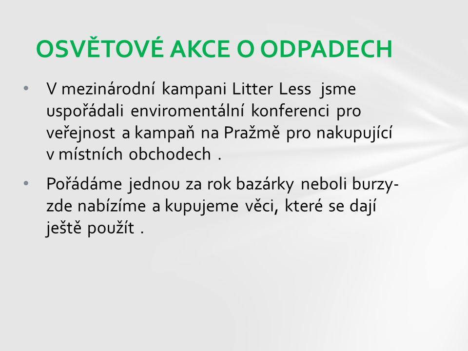V mezinárodní kampani Litter Less jsme uspořádali enviromentální konferenci pro veřejnost a kampaň na Pražmě pro nakupující v místních obchodech. Pořá