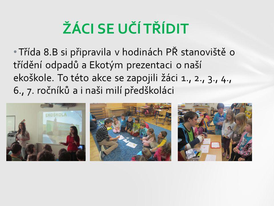 Třída 8.B si připravila v hodinách PŘ stanoviště o třídění odpadů a Ekotým prezentaci o naší ekoškole. To této akce se zapojili žáci 1., 2., 3., 4., 6