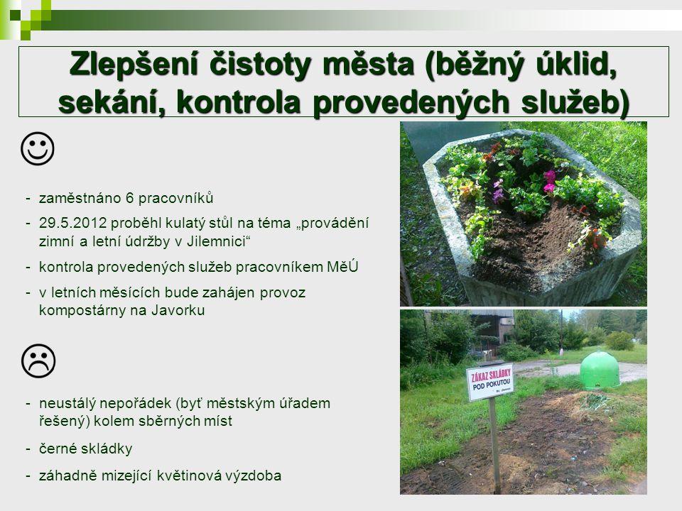 """Zlepšení čistoty města (běžný úklid, sekání, kontrola provedených služeb) -zaměstnáno 6 pracovníků -29.5.2012 proběhl kulatý stůl na téma """"provádění zimní a letní údržby v Jilemnici -kontrola provedených služeb pracovníkem MěÚ -v letních měsících bude zahájen provoz kompostárny na Javorku -neustálý nepořádek (byť městským úřadem řešený) kolem sběrných míst -černé skládky -záhadně mizející květinová výzdoba"""