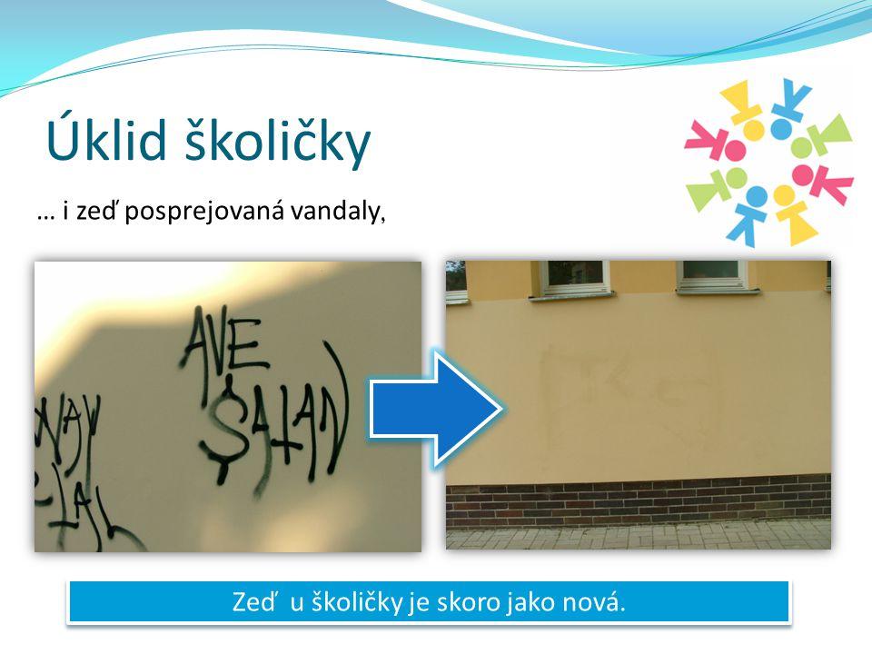 Úklid školičky … i zeď posprejovaná vandaly Zeď u školičky je skoro jako nová.